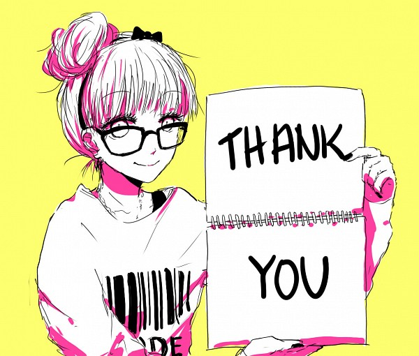 Tags: Anime, Text: Thank You, Yellow Background, Sweater