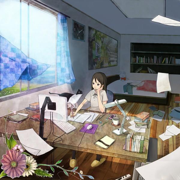 Cute Cat Studying Wallpaper Shigureteki 267100 Zerochan