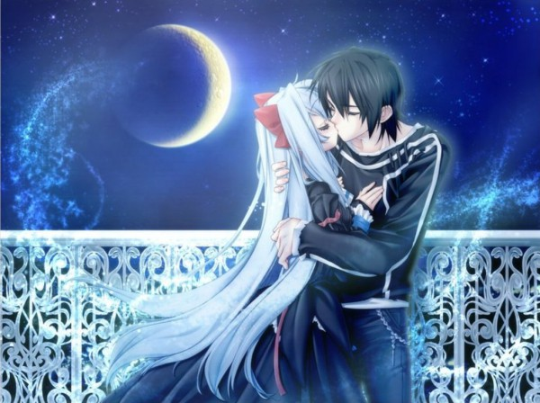Anime Guy And Girl Holding Hands Wallpaper Under The Moon Image 115014 Zerochan Anime Image Board