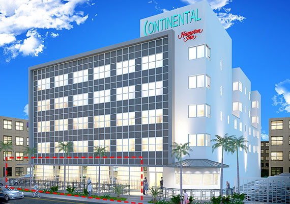 Rendering of the redeveloped building at 4000 Collins Avenue