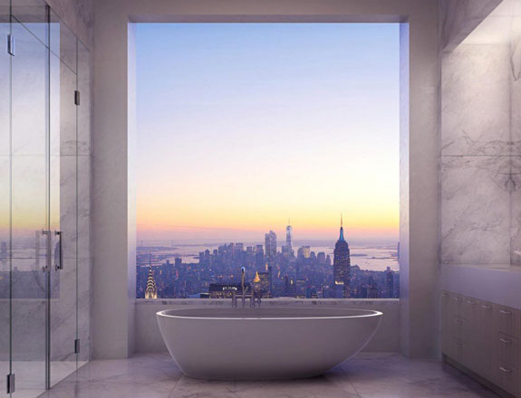 A bathroom with a view in 432 Park