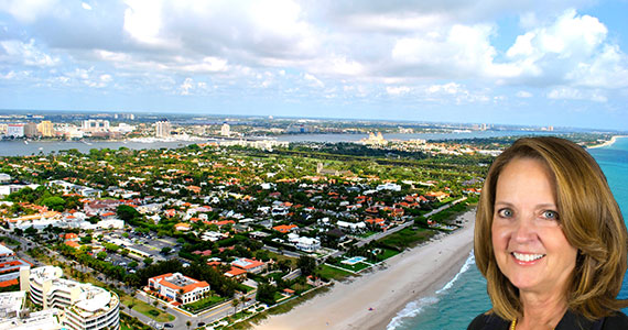 An aerial view of Palm Beach (Credit: ) and Ava Van de Water of Brown Harris Stevens