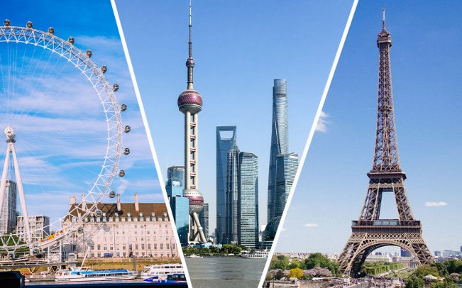 From left: London, Shanghai and Paris