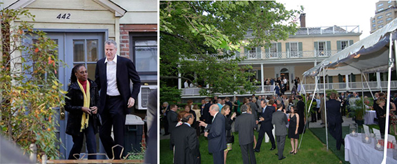 The mayor outside his Park Slope home and a fund-raising event at Gracie Mansion