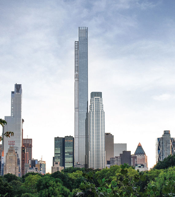 A rendering of Extell Development's Central Park Tower, which will top out at 1,550 feet tall when it's complete in 2019. (credit: New York YIMBY)
