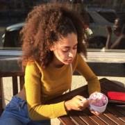 aesthetic curly hair ice cream