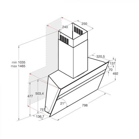 Hota incorporabila decorativa Hotpoint HHVS 8.7F LT K, 801 m3/h, 3 viteze, Touch, 80 cm, Negru