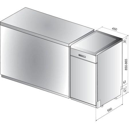 Masina de spalat vase Whirlpool WSFO3O23PFX, 10 seturi, 7 programe, 6th Sense, Power Clean, Clasa A++, 45 cm, Inox