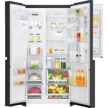 Side by side LG GSJ761MCUZ, 600 l, Clasa A++, Full NoFrost, Door in Door, Dispenser apa, Compresor liniar Inverter, Smart Diagnosis, H 179 cm, Negru