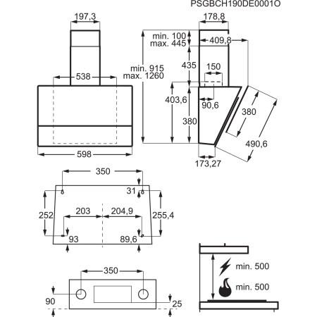 Hota incorporabila decorativa Electrolux LFV616K, Putere de absorbtie 700 mc/h, 1 motor, 60 cm, Conectivitate plita, Functie Breeze, Negru