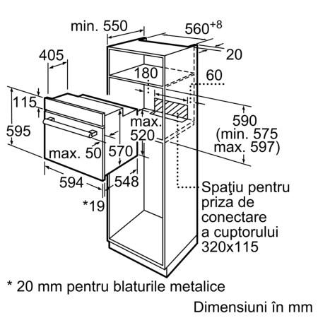 Cuptor incorporabil Bosch HBF153BS0, Electric, Autocuratare EcoClean Direct, 66 l, Clasa A, Inox