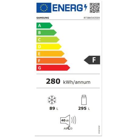 Frigider cu doua usi Samsung RT38K5435S9/EO, 384 l, Clasa F, Full NoFrost, Twin Cooling Plus, Compresor Digital Inverter, Display, Iluminare LED, Inox