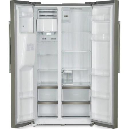 Side by side Heinner HSBS-M490ICEX++, 490 l, Clasa A++, No Frost, Dispenser apa & gheata, Display, Iluminare LED, Compresor Inverter, H 178.8 cm, Argintiu