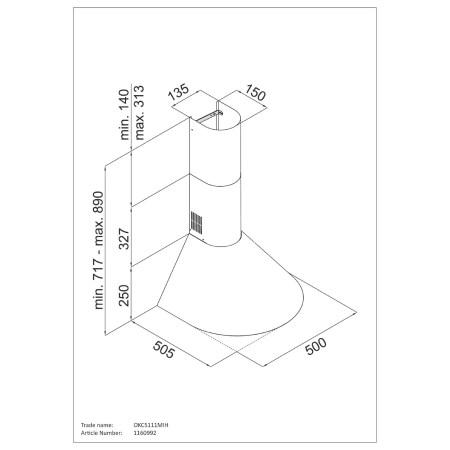 Hota incorporabila decorativa Hansa OKC5111MIH, Putere de absorbtie 380 mc/h, 50 cm, Inox