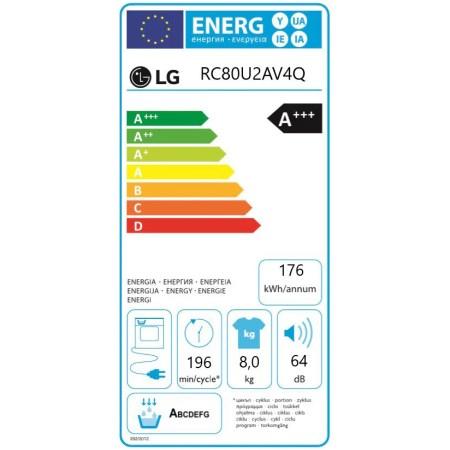 Uscator de rufe LG RC80U2AV4Q, Pompa de caldura, 8 kg, 14 programe, Clasa A+++, Smart Diagnosis, WiFi, Alb
