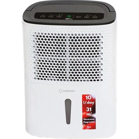 Dezumidificator Turbionaire Smart 10 Eco, 10l/zi , Compresor Utilizare Intensa, Garantie 3 ani, Indicator nivel apa, Panou de control digital, Higrostat electronic, Timer, Auto Restart, Filtru lavabil, Silentios