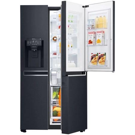 Side by side LG GSX961MCVZ InstaView Door in Door , 601 l, Clasa A++, Full NoFrost, Compresor Inverter Linear, Door Cooling, Negru
