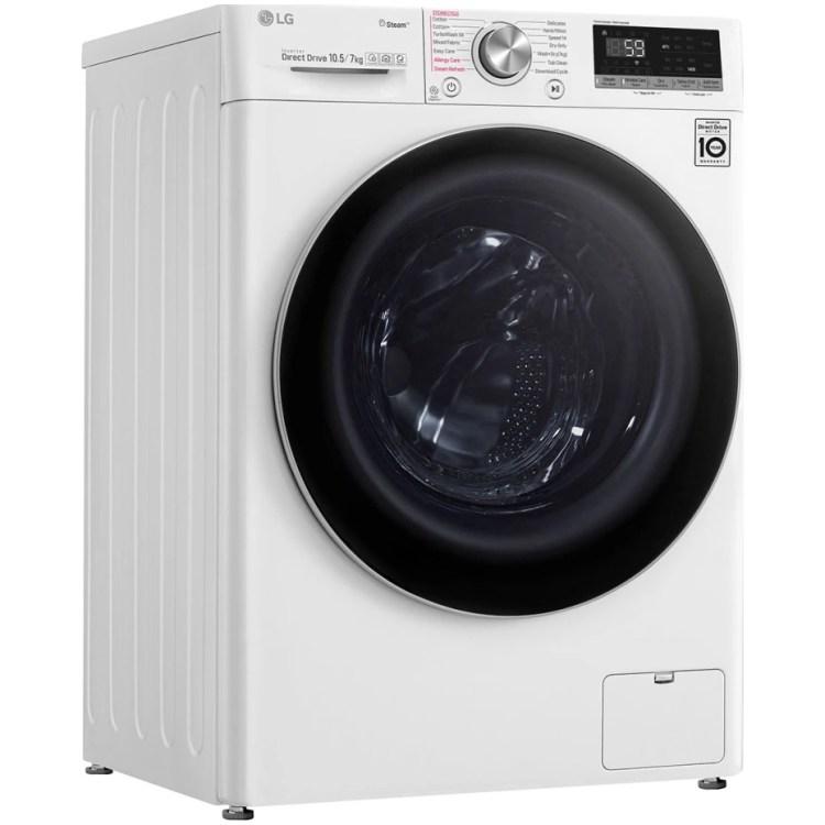 Masina de spalat rufe cu uscator LG F4DV710H1, Spalare 10.5 kg, Uscare 7 kg, 1400 RPM, Clasa A, Motor AI Direct Drive, Turbowash, Steam+, WiFi, Alb