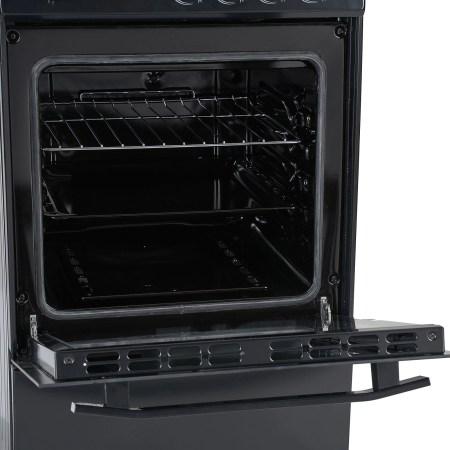 Aragaz Heinner HFSC-V50BK, 4 arzatoare, Gaz, Dispozitiv de siguranta plita/cuptor, Duze GPL incluse, 50 cm, Negru