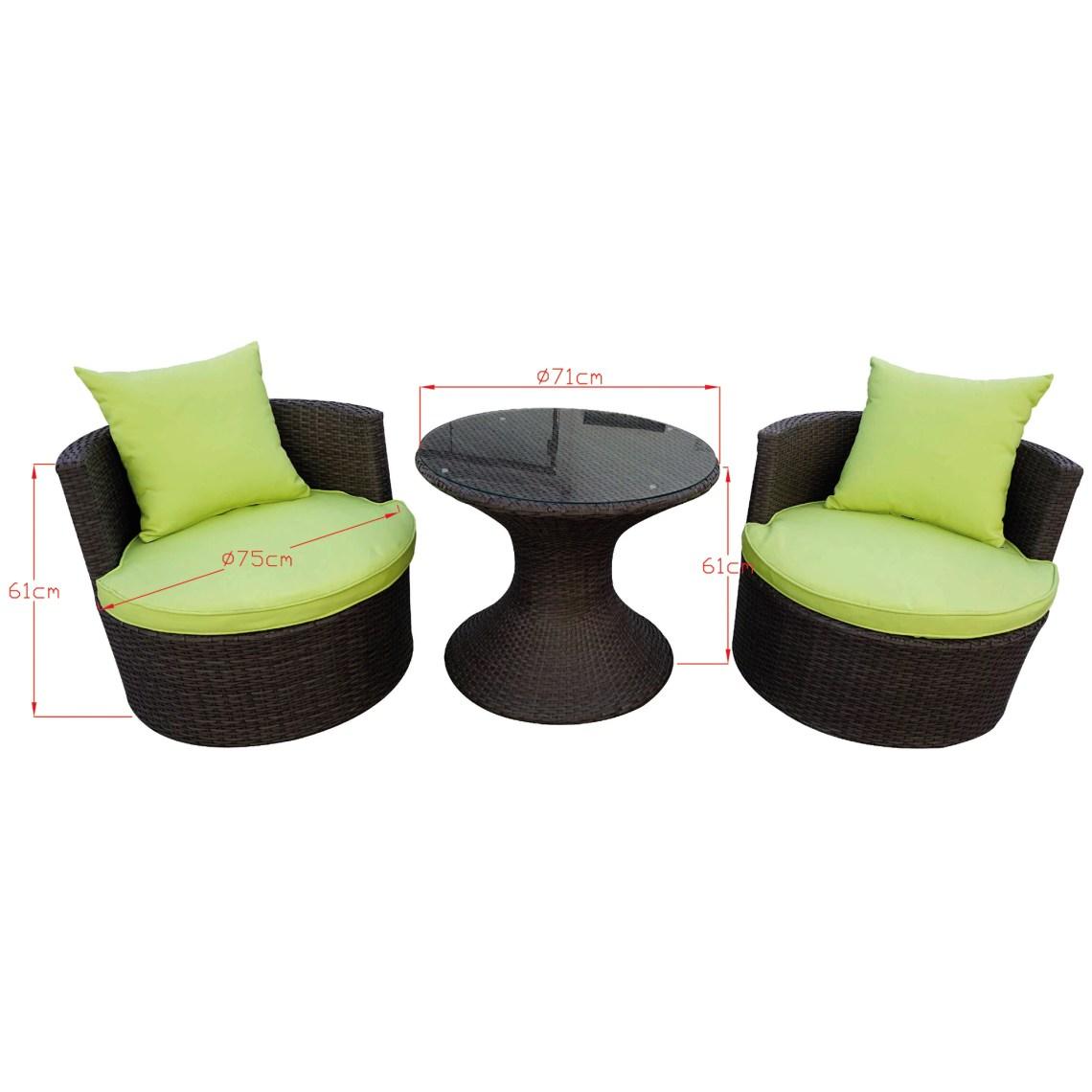 Set mobilier balcon/gradina/terasa Kring Duo, masa, 2 fotolii, ratan sintetic, maro si perne verzi