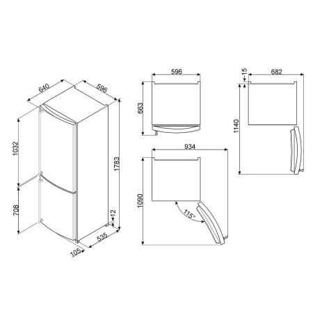 Combina frigorifica SMEG FA860P, crem, 60 cm, 304 l
