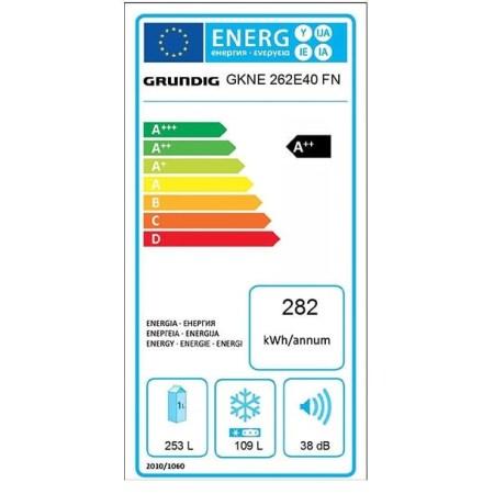 Combina frigorifica GRUNDIG GKNE 262E40 FXN, Duo-Cooling No Frost, 362 l, H 203, Clasa A++, inox