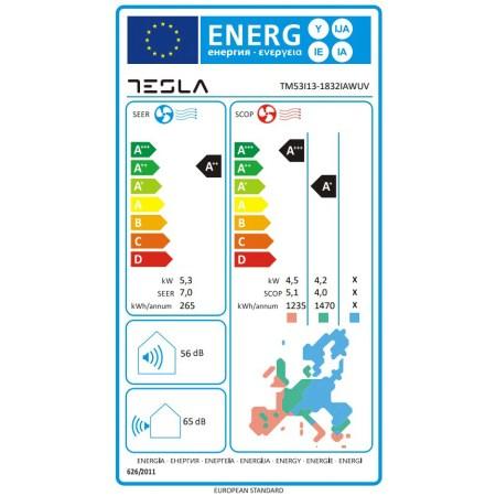 Aparat de aer conditionat Tesla TM53I13-1832IAWUV, 18000 BTU, Clasa A++, Functie incalzire, Functie Turbo, I Feel, Autocuratare, Timer, Filtru lavabil, Carcasa anti-rugina, Inverter, R32, WiFi, UVC lamp