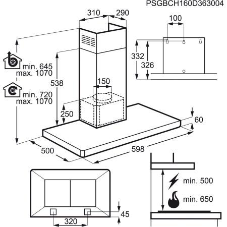 Hota incorporabila decorativa Electrolux EFB60460OX, Putere de absorbtie 603 mc/h, 1 motor, 60 cm, Inox