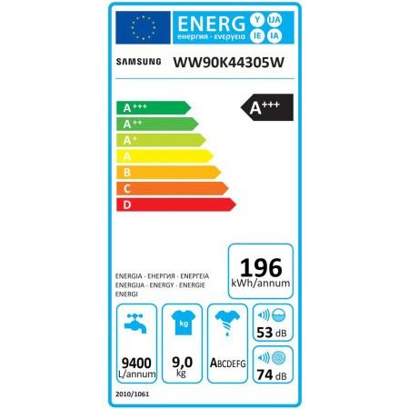 Masina de spalat rufe Samsung Add-Wash WW90K44305W/LE, 9 kg, 1400 RPM, Clasa A+++, Motor Digital Inverter, Alb