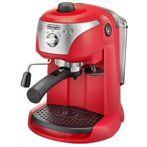 Espressor manual De'Longhi EC221.R, Dispozitiv spumare, Sistem cappuccino, 15 Bar, 1 l, Oprire automata, Rosu