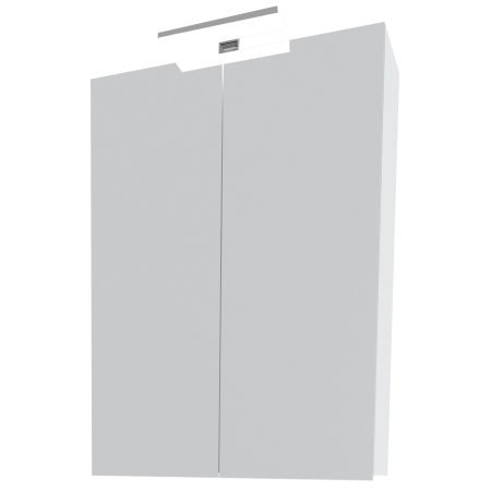 Oglinda dulapior cu doua usi si lampa LED Kring Fly 4.5W, Alb, 63 x 75.5 x 15.5 cm