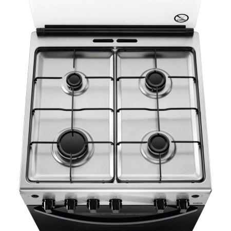 Aragaz Zanussi ZCG612H1XA, 4 arzatoare, Aprindere electrica plita/cuptor, Grill, Rotisor, 60 cm, Inox