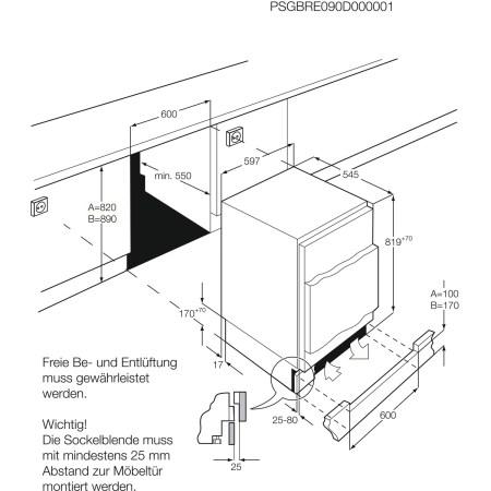 Congelator incorporabil AEG ABB68211AF, 95 l, 3 sertare, Clasa A+, H 82 cm