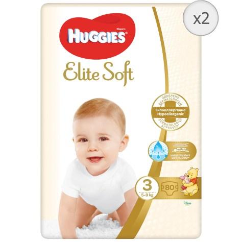 Scutece Huggies Elite Soft 3, 5-9 kg, 160 buc