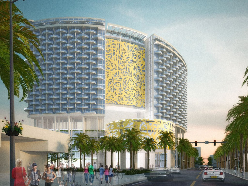 Rendering of the Miami Beach Convention Center Hotel (Credit: John Portman & Associates)