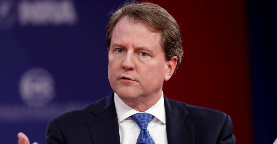 Donald McGahn delivering the speech
