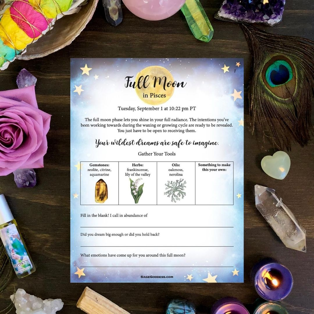 Free Sg Downloadable Pisces Full Moon Worksheets