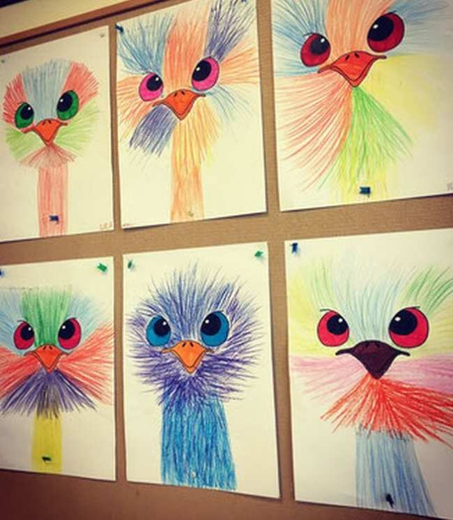 Emu heads made of colorful lines with large eyes (First Grade Art)