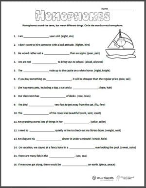 2nd Grade Homophones Worksheet : grade, homophones, worksheet, Printable:, Homophones, Worksheet, Teachers