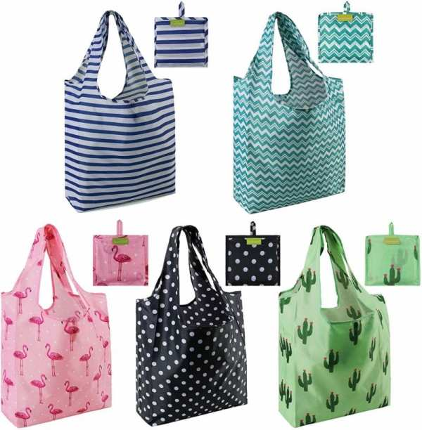 Foldable nylon bags in stripes, polka dots, flamingo, and cactus patterns