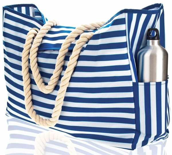 Blue and white striped canvas bag with thick rope handles and water bottle pocket (Best Teacher Bags)