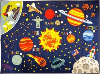 Space themed classroom carpet featuring planets and astronaut