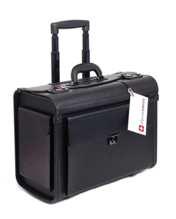 Boxy black rolling attache case with an extendable handle (Best Teacher Bags)
