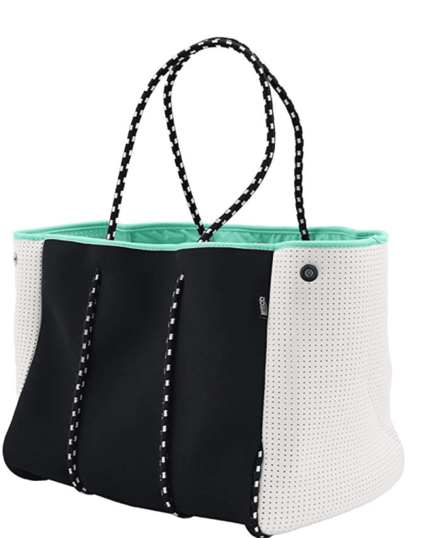 Large boxy bag with black and white exterior, aqua lining, and braided black and white straps (Best Teacher Bags)