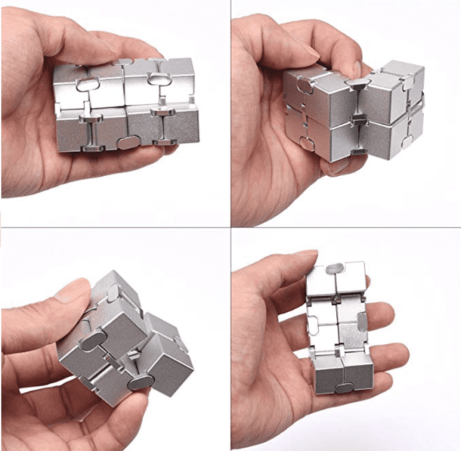 Infinity Cube fidget device made of silver metal