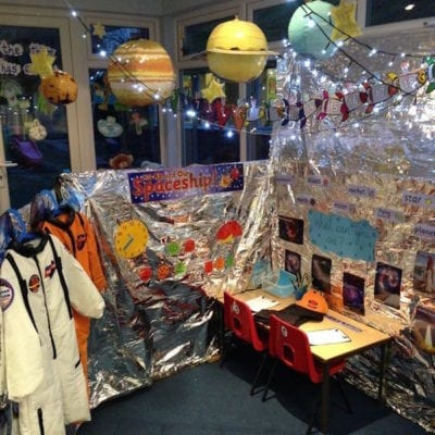Space-themed classroom reading nook with hanging planets and control station