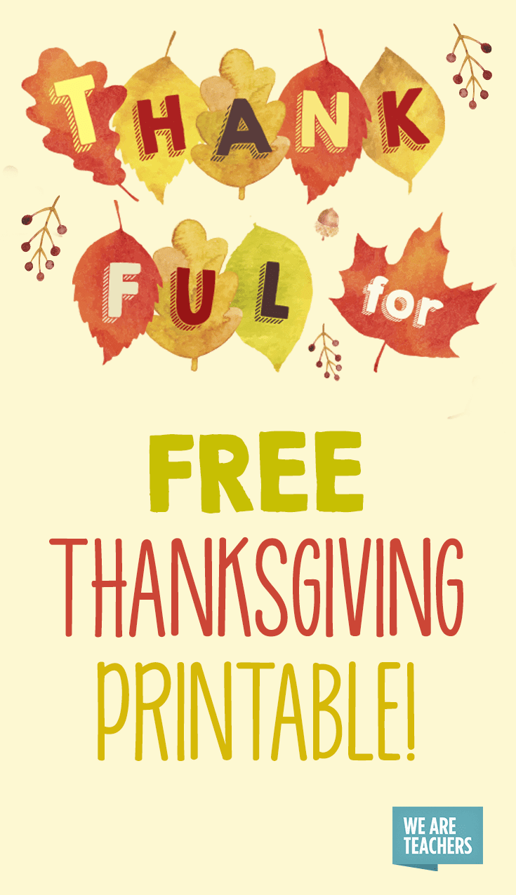 medium resolution of Free Thanksgiving Printable Banner for the Classroom - WeAreTeachers