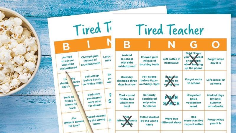tired teacher bingo the