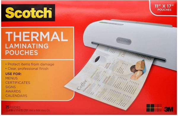 Scotch 11 x 17 inch thermal laminating pouches (Best laminating pouches)