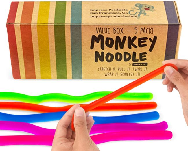 Colorful stretchy Monkey Noodle toys and storage box
